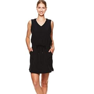 Gaiam Mia Woven Sleeveless Hoodie Dress Black M